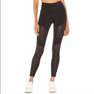 Alo black high rise moto mesh inset leggings